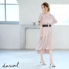 3/5UPフレアスリーブテールカットミディ丈ドレス