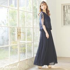 シャンデリアレースプリーツセットアップアンクル丈のパンツドレス[darial]