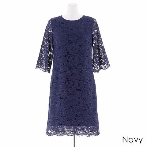 パーフェクトレースボックスワンピースドレス(ネイビー-Sサイズ)