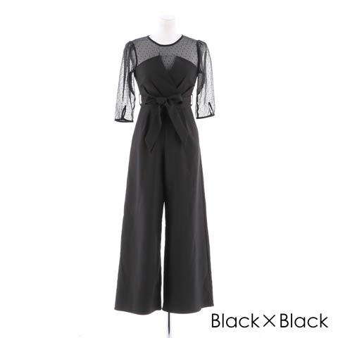 [darial]平子理沙プロデュース『RIRIBAE/リリベ』コルセット風デザインパンツドレス(ブラック×ブラック-Sサイズ)