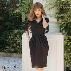 10/16UP[darial]平子理沙プロデュース『RIRIBAE/リリベ』レースケープ付きハイウエストタックドレス