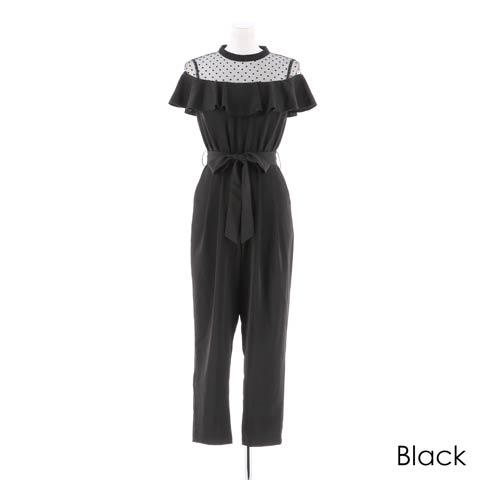 [darial]『RIRIBAE/リリベ』フリルデコルテオールインパンツドレス(ブラック-Sサイズ)