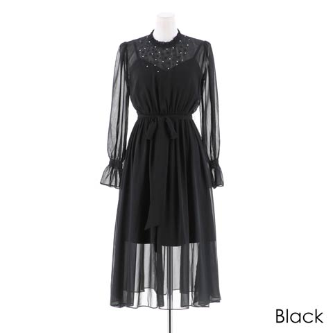 [darial]『RIRIBAE/リリベ』星柄刺繍シフォンワンピースドレス(ブラック-Sサイズ)