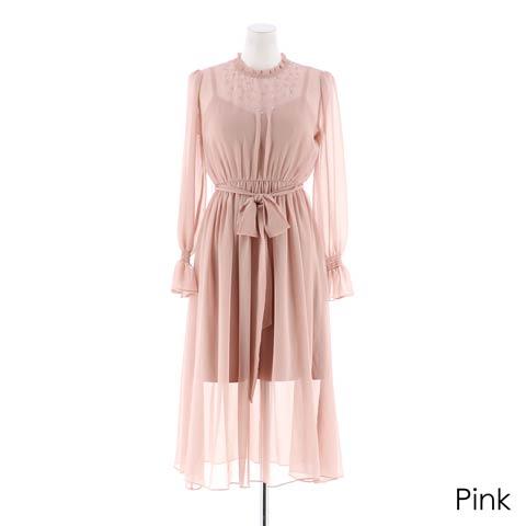 [darial]『RIRIBAE/リリベ』星柄刺繍シフォンワンピースドレス(ピンク-Sサイズ)