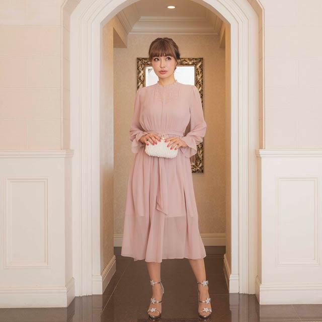 [darial]『RIRIBAE/リリベ』星柄刺繍シフォンワンピースドレス