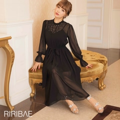 10/16UP[darial]平子理沙プロデュース『RIRIBAE/リリベ』星柄刺繍シフォンワンピースドレス
