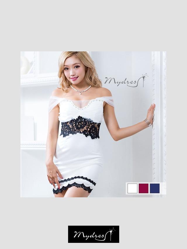 ウエストカット上品レースタイトミニドレス[my dress]