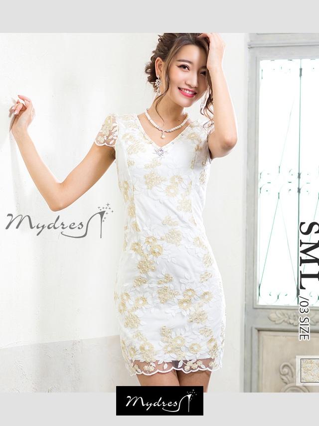 オーガンジー刺繍デザインタイトミニドレス[mydress]