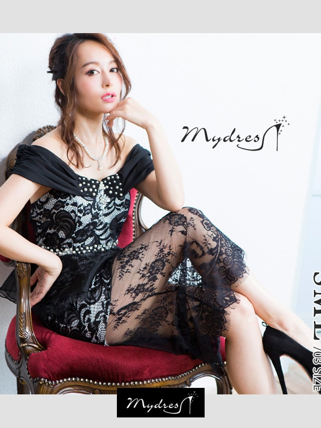 プリンセスショルダーレースレイヤードロングドレス[mydress]