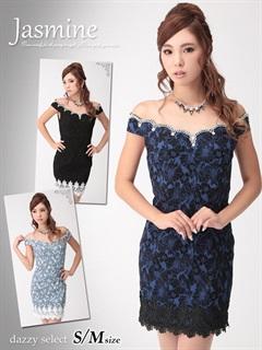 花柄ジャガード裾レース付きスカラップオフショルダーミニドレス