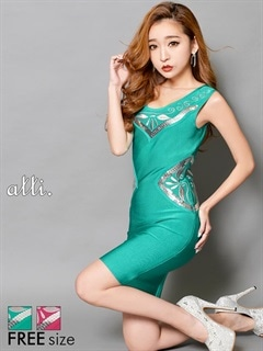 刺繍バンテージタイトミニドレス