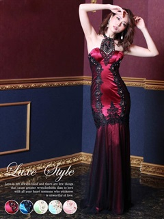 【P★10倍】[LuxeStyle]サイド刺繍入りマーメイドホルターロングドレス[15019][送料無料]