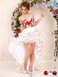 【P★10倍】[AngelR]薔薇柄ウェディングテールカットロングドレス[AR5332][送料無料]