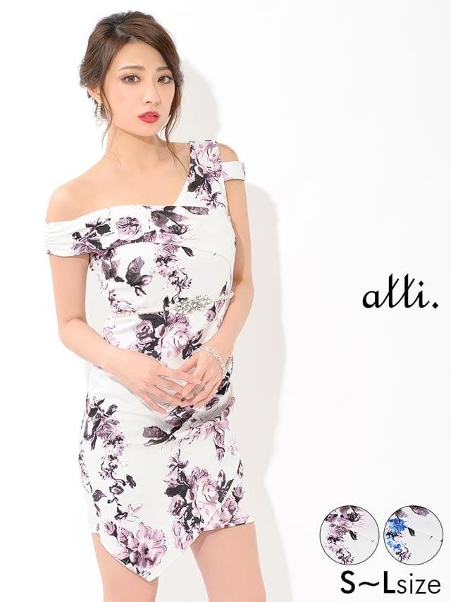2/26UP[SMLサイズ]裾アシンメトリー花柄ワンショルタイトミニドレス[3サイズ展開]