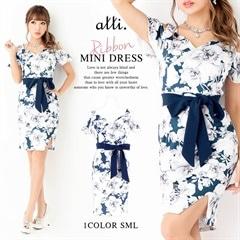 [SMLサイズ]オープンショルダーフラワープリントミニタイトドレス[3サイズ展開]
