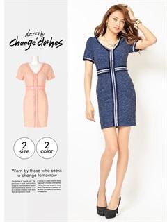 [S/Mサイズ]フリンジ付ロープクロスツイードタイトミニドレス[change clothes]