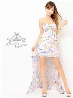 パールビジュー付花柄ベアペプラムテールカットロングドレス