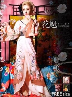 ◇dazzystore2017花魁◇和柄着物風振袖ロングドレス