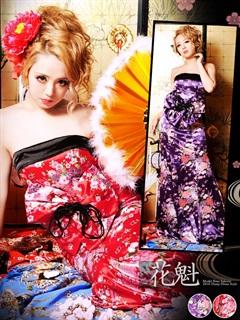 ◇dazzystore2017花魁◇BIGリボン付和柄着物風ベアAラインロングドレス[送料無料]