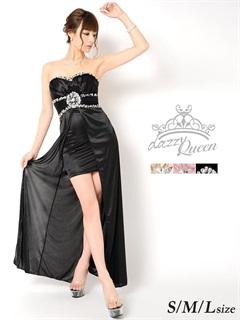 ビジュー&ビーズ付きベアストレッチサテンインナーミニロングドレス