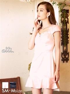 [S/Mサイズ]ワンカラー裾フレアミニドレス[2サイズ展開]