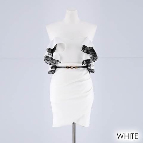 [MOARADY][SMLサイズ]ワンカラーフリルxレースオフショルタイトミニドレス[3サイズ展開](ホワイト-Sサイズ)