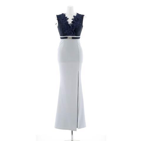 明日花キララ着用[SMLサイズ]グラマラスフラワーモチーフ付きタイトロングドレス[3サイズ展開](ネイビー-S)