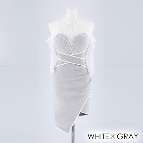 [SMLサイズ]バイカラーレース袖タイトミニドレス[3サイズ展開](ホワイト×グレー-Sサイズ)