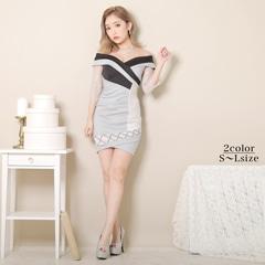 【応援ドレス】[MOARADY][SMLサイズ]カシュクール風オフショルタイトミニドレス[3サイズ展開]