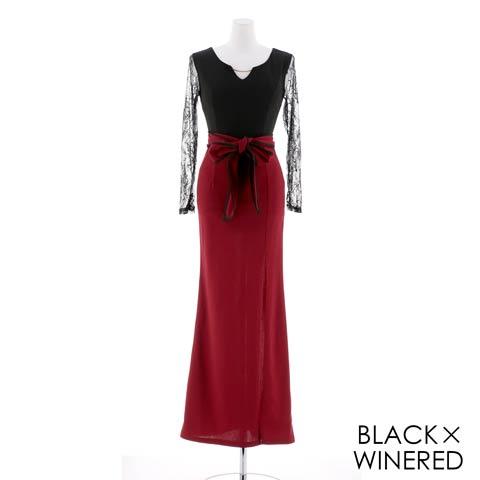 [MOARADY][SMLサイズ]レーススリーブウエストリボンスリットタイトロングドレス[3サイズ展開](ブラック×ワインレッド-Sサイズ)