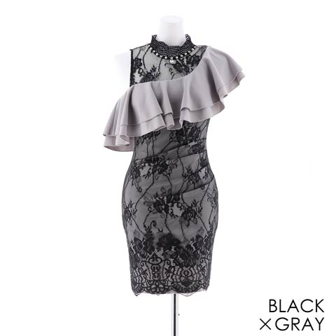 [MOARADY][S/Mサイズ]アシメ大判フリルシアーレースタイトミニドレス[2サイズ展開](ブラックXグレー-Sサイズ)