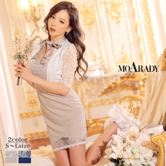 [MOARADY][SMLサイズ]スカーフリボン袖レースタイトミニドレス[3サイズ展開]