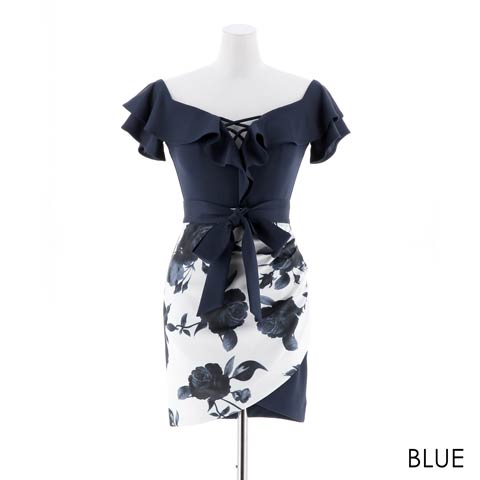 [MOARADY][MLサイズ]ローズ柄オフショルフリルタイトミニドレス[2サイズ展開](ブルー-Mサイズ)