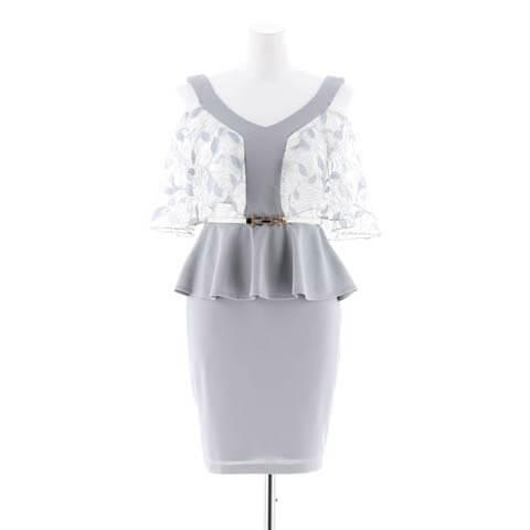 [MOARADY][SMLサイズ]シアー大判フリルペプラムタイトミニドレス[3サイズ展開](ホワイト×グレー-Sサイズ)