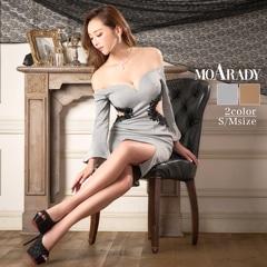 10/8UP [MOARADY][SMサイズ]ウエストシアーフラワーオフショル長袖タイト膝丈ドレス[2サイズ展開]
