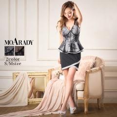 [MOARADY][SMサイズ]フロントジップペプラムレーシィタイトミニドレス[2サイズ展開]