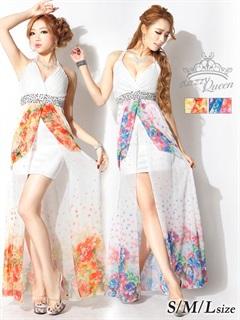 水彩花柄ビジュー付ホルターインナーミニロングドレス