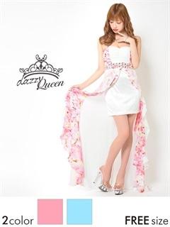 花柄シフォンインナーミニロングドレス