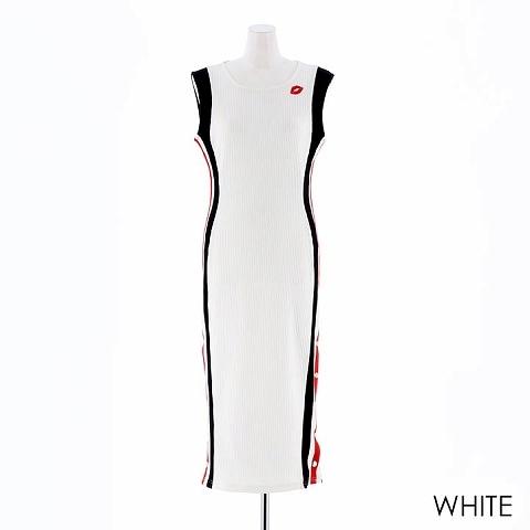 [t-Aceプロデュース][SMLサイズ]サイドラインリブニットノースリーブタイトドレス[3サイズ展開](ホワイト-Sサイズ)