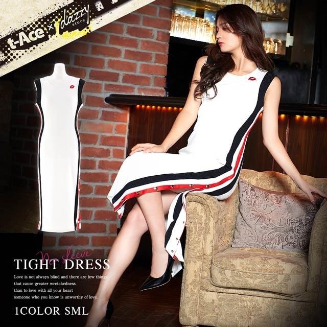 [t-Aceプロデュース][SMLサイズ]サイドラインリブニットノースリーブタイトドレス[3サイズ展開]