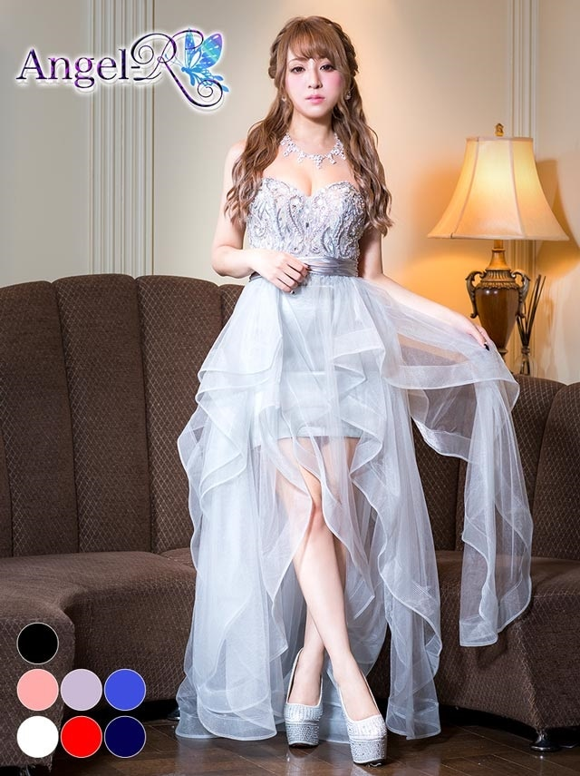 【P★10倍】[AngelR]巻きスカートインナーミニロングドレス[AR7503][送料無料]