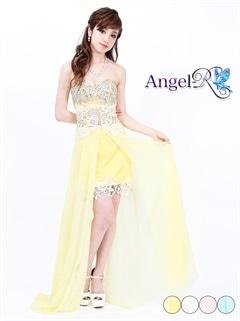 【P★10倍】[Angel R]レース刺繍シフォンベアショートインロングドレス[AR6218][送料無料]