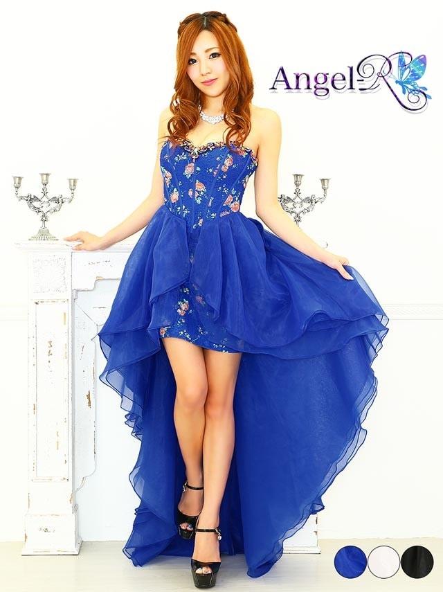 【P★10倍】[AngelR] フラワープリントシフォンベアショートインロングドレス[AR6217][送料無料]