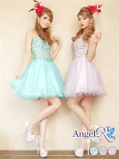 【P★10倍】[Angel R]パステルビジューキュートチュールミニドレス[AR5601][送料無料]