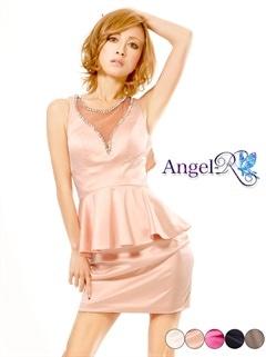 【P★10倍】[AngelR]ワンカラーぺプラムミニドレス[AR4201][送料無料]