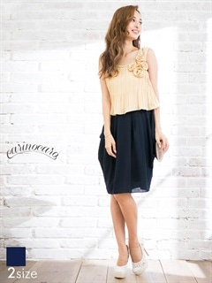 [SM~MLサイズ]ローズコサージュ付きコクーンスカートミニドレス[3サイズ展開]