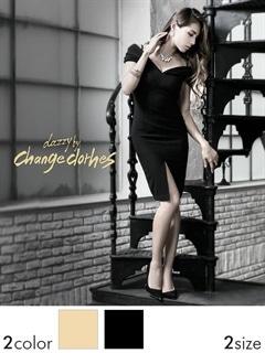 [S/Mサイズ]ワンカラーオフショルタイトミニドレス[2サイズ展開][change clothes]