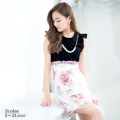 [SMLサイズ]ネックレス付オーガンジー花柄切替フレアミニドレス[サイズ展開]