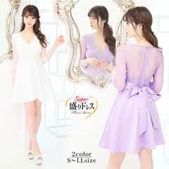 【盛りドレス】[S~LLサイズ]袖付ウエストパールビジューAラインミニドレス[3サイズ展開][6/25再入荷]