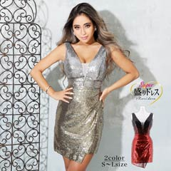 4/1UP【盛りドレス】[SMLサイズ]スパンコールノースリーブタイトミニドレス[3サイズ展開]